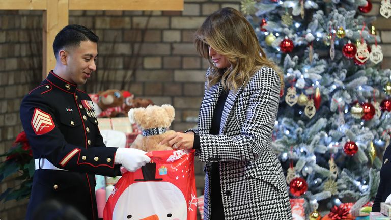 The first lady helped to pack gift bags