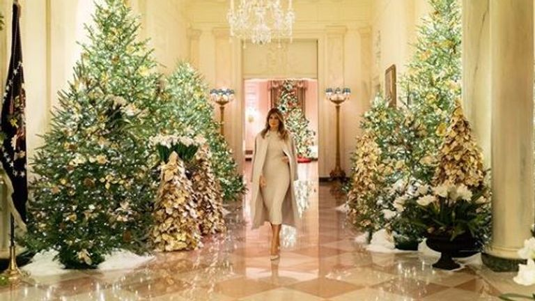 First Lady Melania Trump has posted pictures of the decorations on social media. Pic: flotus /Instagram