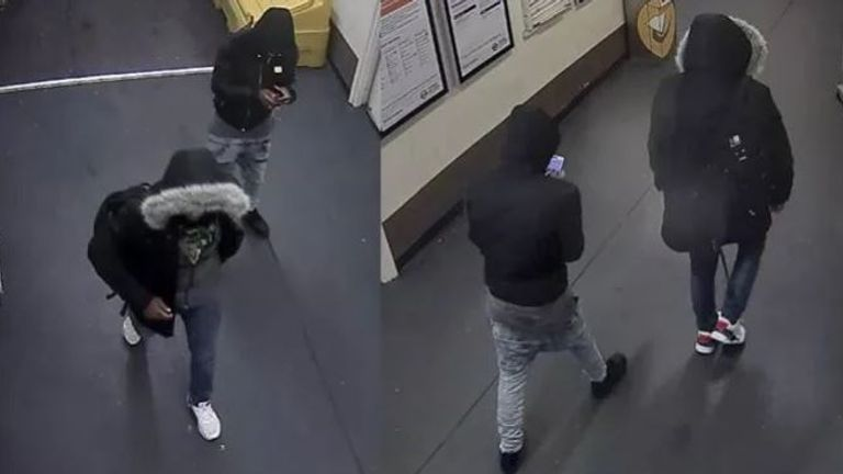 The two suspects pictured at Stamford Hill station. Pic: Met Police