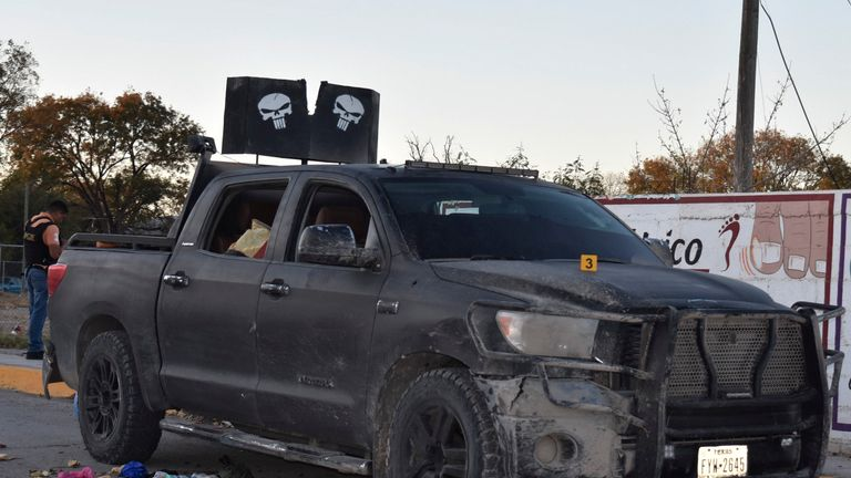 A vehicle used by suspected cartel members in a gunbattle in Mexico
