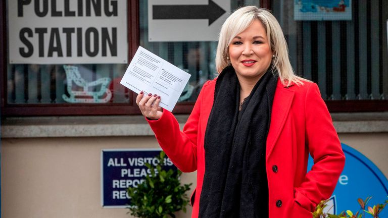 Sinn Fein's Vice President Michelle O'Neill casting her vote on election day