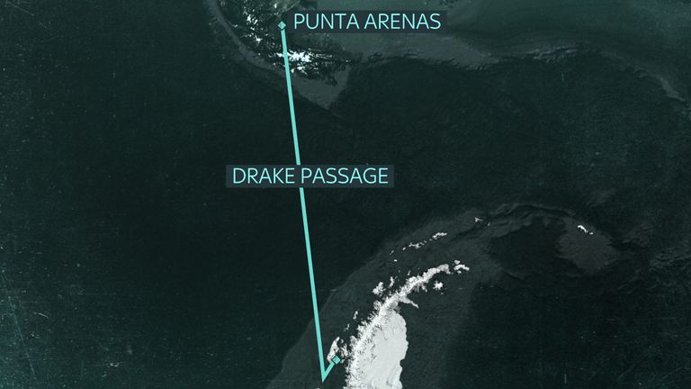 Sky News will travel from Chile across the notoriously rough Drake Passage to Antarctica