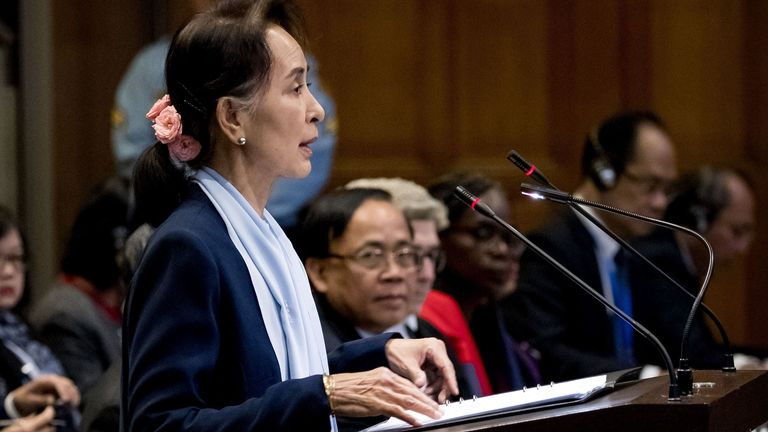 Myanmar's State Counsellor Aung San Suu Kyi speaks at the UN's International Court of Justice