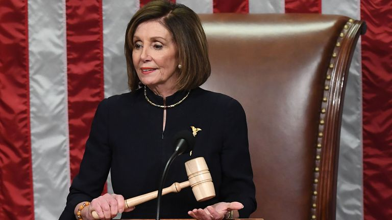 US Speaker of the House Nancy Pelosi presides over Resolution 755, Articles of Impeachment against Donald Trump