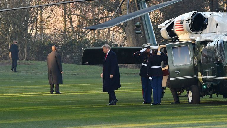 Donald Trump arrived for the summit on the Marine One helicopter