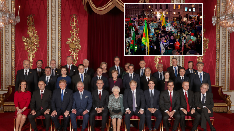 NATO leaders gather at Buckingham Palace as protests continue outside