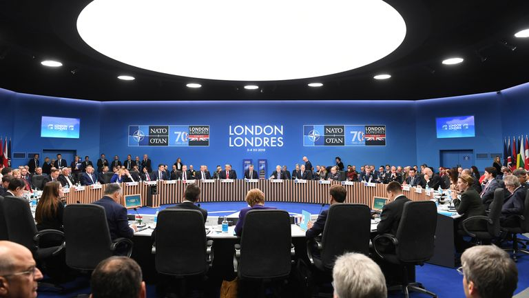 A general view of members during the annual NATO heads of government summit at The Grove hotel in Watford, Hertfordshire.