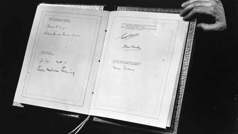 The North Atlantic Treaty, showing the signatures of the foreign secretaries and ambassadors of the original signing nations - Belgium, Britain, Canada, Denmark, France, Iceland, Italy, Luxembourg, the Netherlands, Norway, Portugal, and the United States