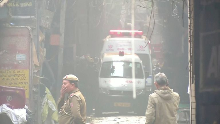 Emergency services respond to the blaze in central New Delhi