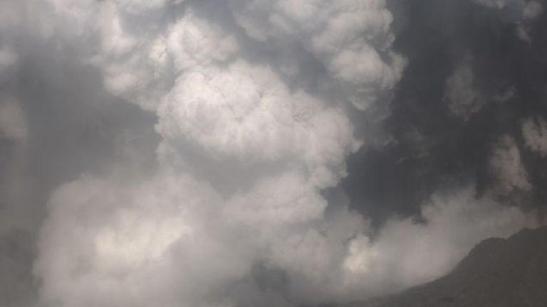 The eruption threw an ash plume about 12,000ft (3,658m) high, New Zealand's geoscience agency GNS Science said. Pic: GeoNet