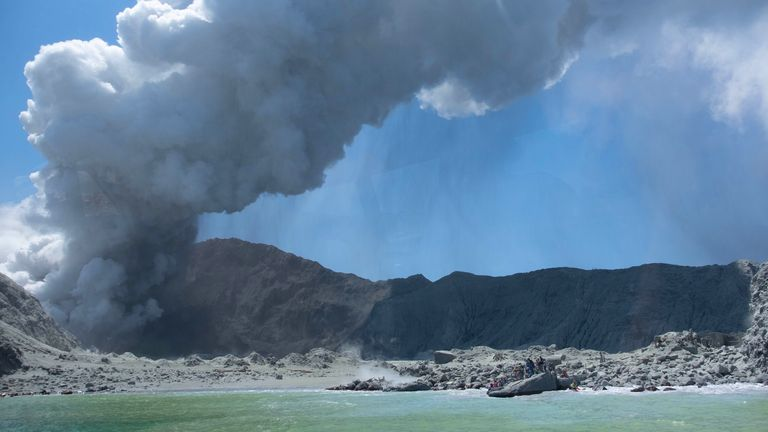 White Island volcano erupts in the Bay of Plenty, New Zealand. Pic: Michael Schade/EPA-EFE/Shutterstock