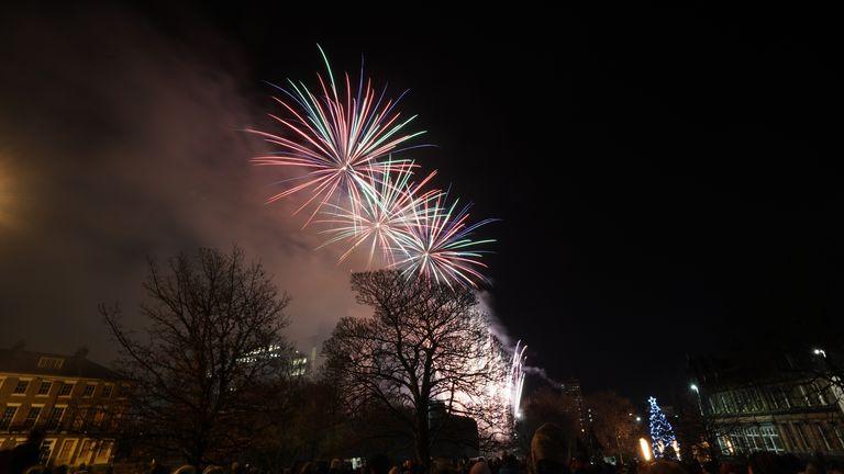 Fireworks burst over Newcastle's Civic Centre