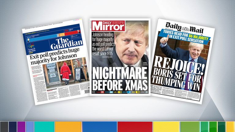 The papers after the exit poll for Friday