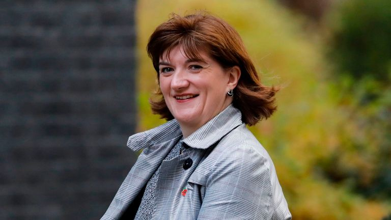 Britain's Culture Secretary Nicky Morgan arrives in Downing Street in central London on November 5, 2019 for a meeting of the cabinet. (Photo by Tolga AKMEN / AFP) (Photo by TOLGA AKMEN/AFP via Getty Images)