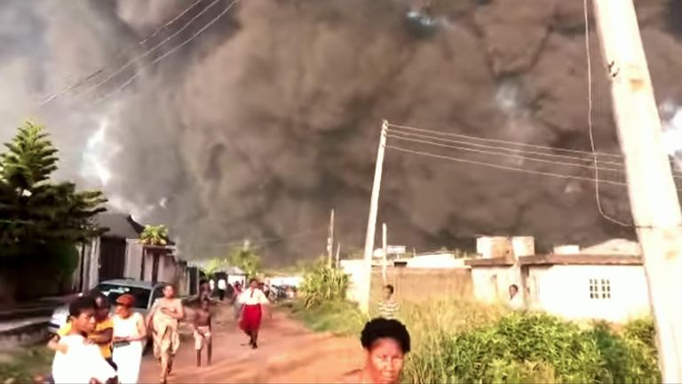 There were fears a number of people were killed in Lagos, Nigeria, on December 5 after an oil pipeline explosion in the city.