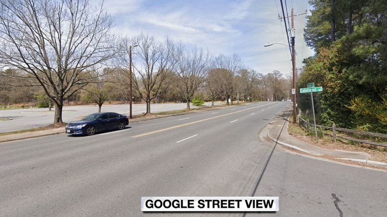 The incident happened at Rama Road and Cabotwood Lane in Charlotte. Pic: Google Street View