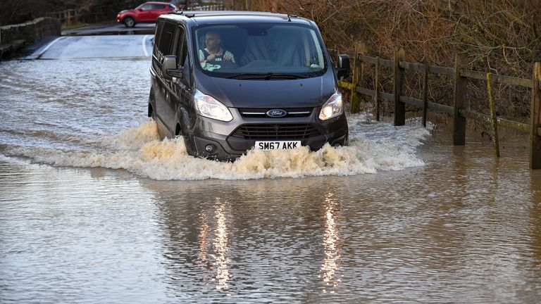 The village of Offchurch, Warwickshire, encounters heavy rain and flooding