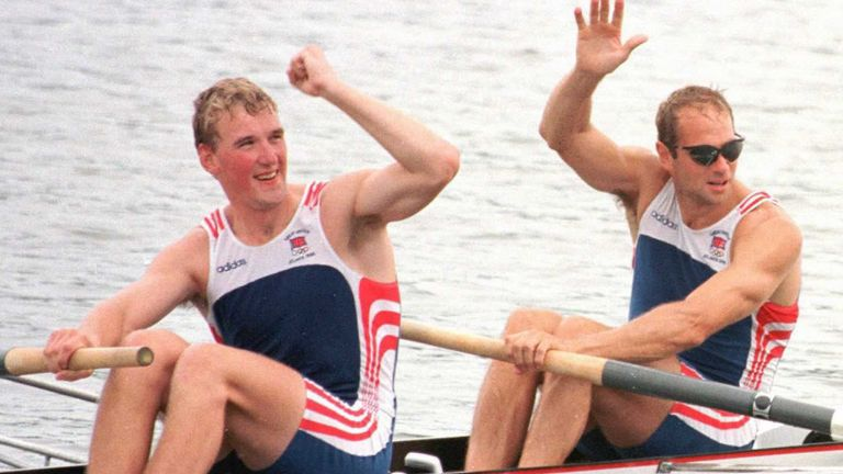 Matthew Pinsent and Steve Redgrave celebrate their win in 1996