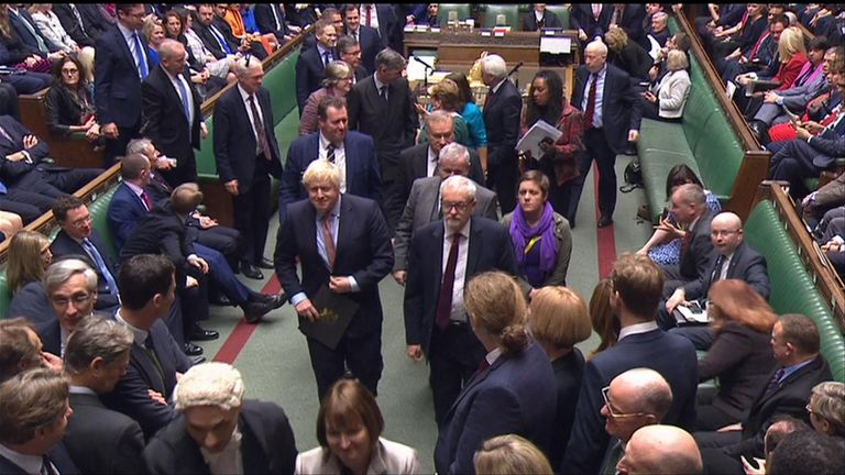 Boris Johnson and Jeremy Corbyn walked out of the Commons together during the opening of parliament