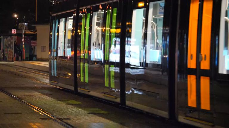 A tram travels through Luxembourg City