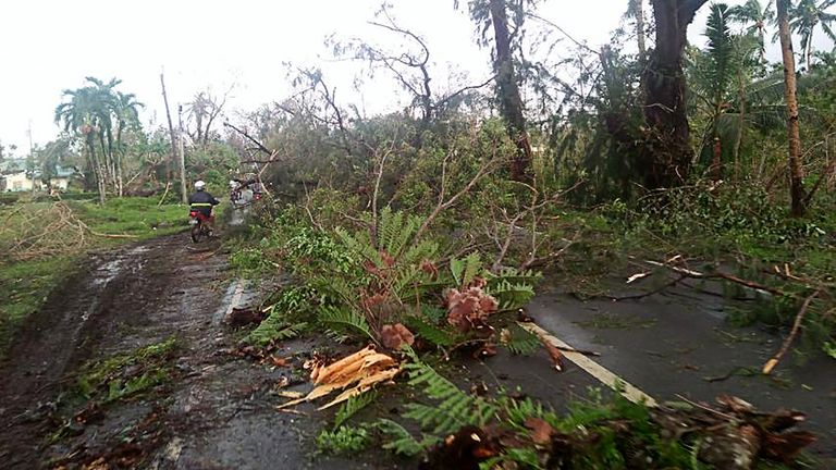 Motorists travel along a highway covered with uprooted trees, brought down by winds caused by typhoon Phanfone, in Salcedo town, eastern Samar province