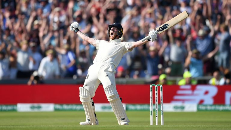 Ben Stokes celebrates hitting the winning runs to win the 3rd Specsavers Ashes Test match between England and Australia at Headingley in Leeds