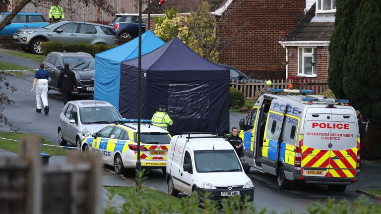 Police at scene in Crawley Down