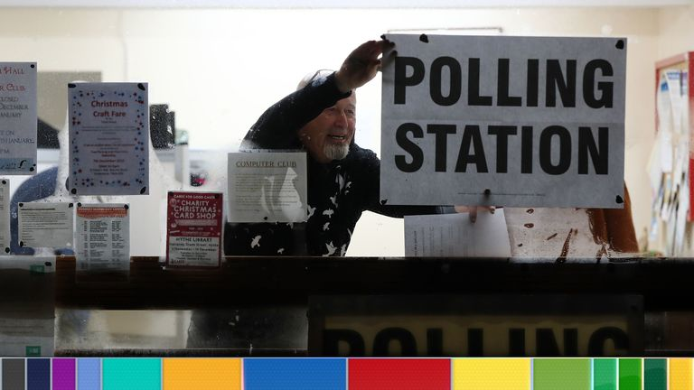 A polling station is set-up for voters in Heysham Hall in Lydd, Kent