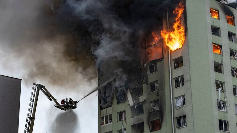 More than 100 firefighters tackled the blaze