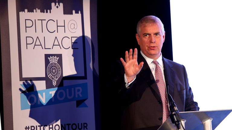Prince Andrew addresses an audience at a Pitch@Palace on tour event in Manchester