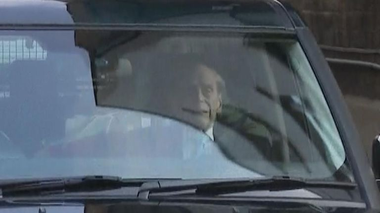Prince Philip is driven away from hospital in London
