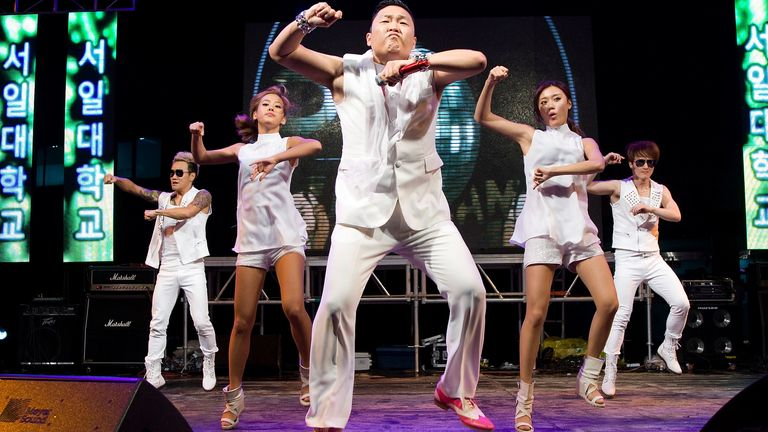Psy performs onstage during his song Gangnam Style