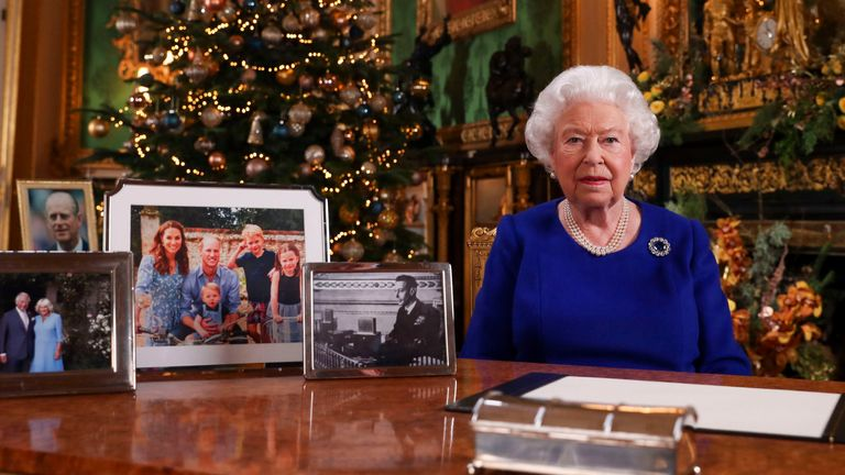 EMBARGOED TO 0001 TUESDAY DECEMBER 24, 2019. Queen Elizabeth II records her annual Christmas broadcast in Windsor Castle, Berkshire.
