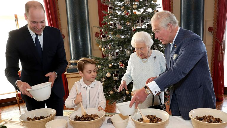 The royal family making festive treats