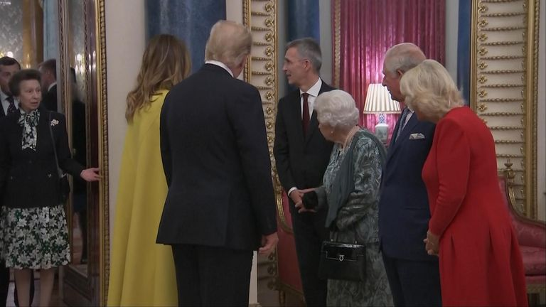 Queen greets Donald Trump and the First Lady - and gives an awkward glance at Princess Anne