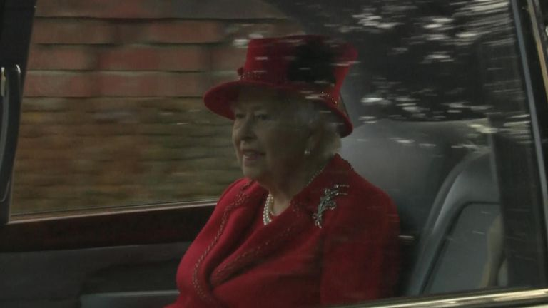 The Queen leaving the service