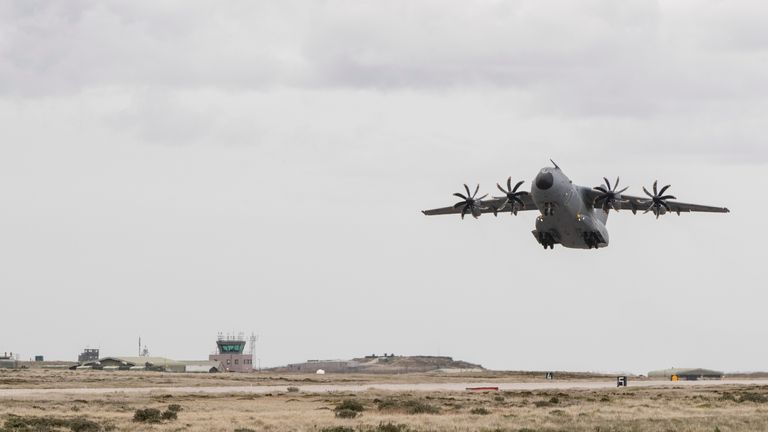 An RAF A400 aircraft takes flight on route to Chile