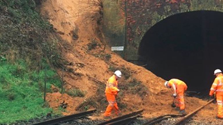 A landslip on the Guildford to Godalming line