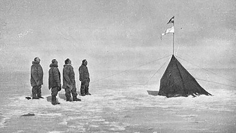 Amundsen's party at the South Pole. Pic: Olav Bjaaland