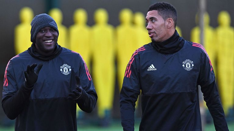 Lukaku, left, with Smalling during their Manchester United days