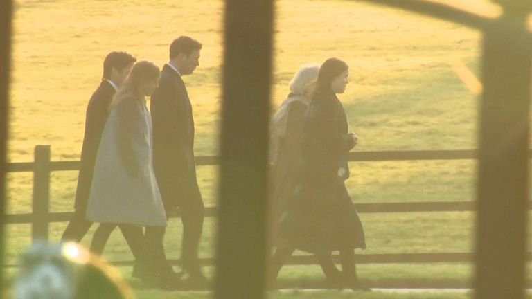 Princess Beatrice and Princess Eugenie arrived with their partners