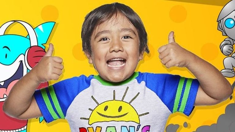 Ryan Kaji,, 8, topped the list with estimated earnings of $26m (£19.8m). Pic: YouTube/Ryan's World
