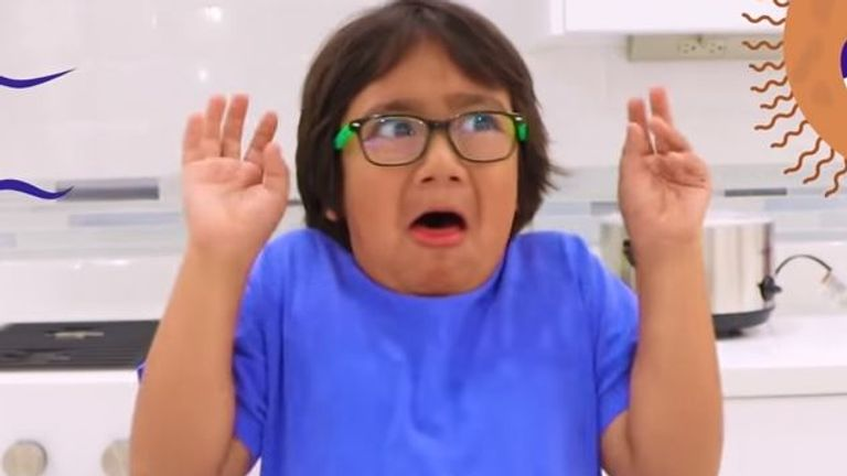 Ryan Kaji stated on YouTube when he was three and now conducts experiments on the channel. Pic: YouTube/Ryan's World