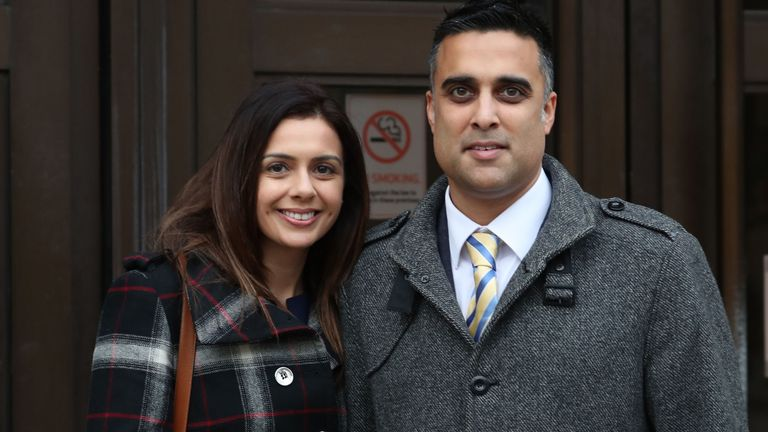 Sandeep and Reena Mander outside Oxford County Court, Oxford, after they won nearly £120,000 in damages