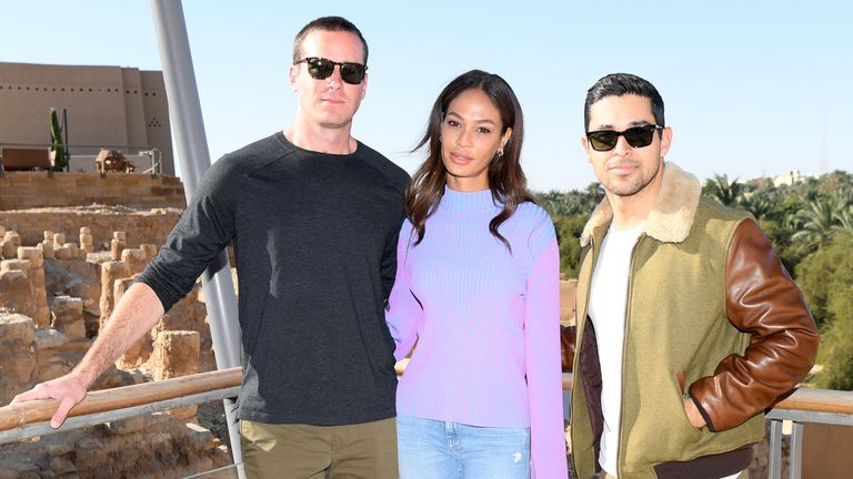 Armie Hammer, Joan Smalls and Wilmer Valderrama attend the MDL Beast Festival in Riyadh, Saudi Arabia