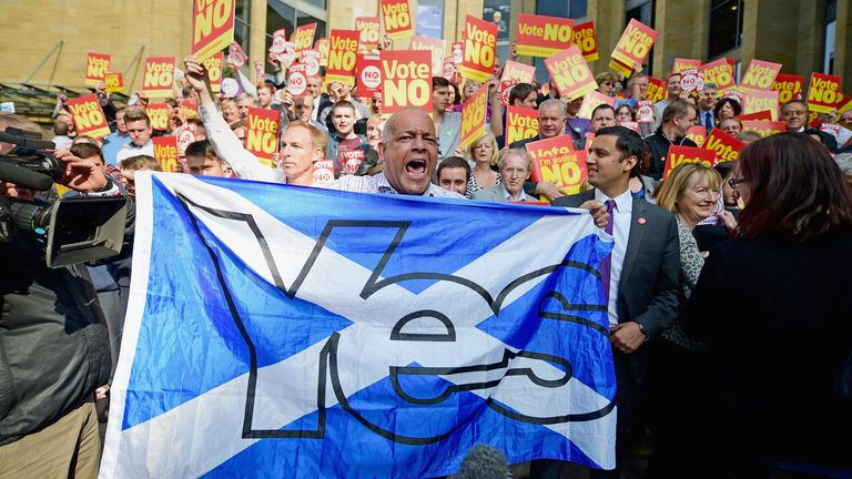 Yes supporters disrupt a Labour Party event in support of the no vote