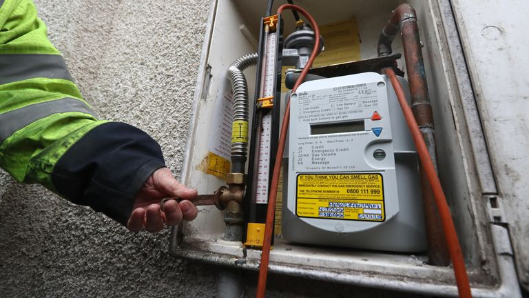 An SGN worker checks a gas meter. File pic