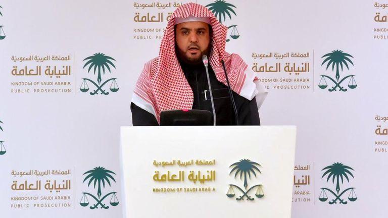 Saudi Deputy Public Prosecutor and spokesman Shalaan al-Shalaan delivers a speech in Riyadh, Saudi Arabia