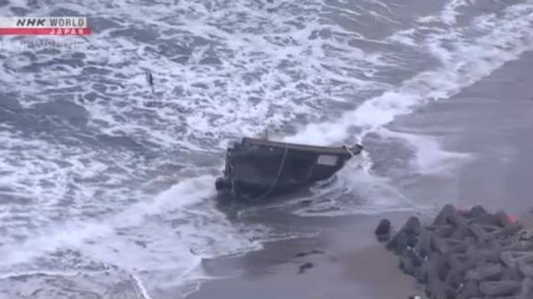 The bodies found on board the wreck are believed to be North Korean nationals. Pic: NHK