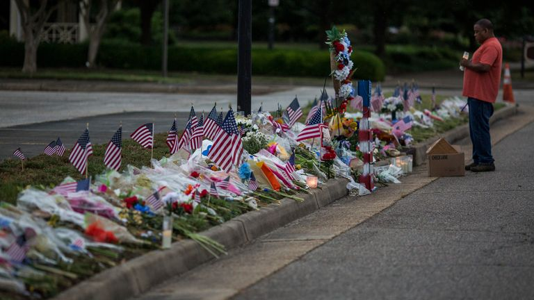 A memorial for those killed in the June Virginia Beach shooting